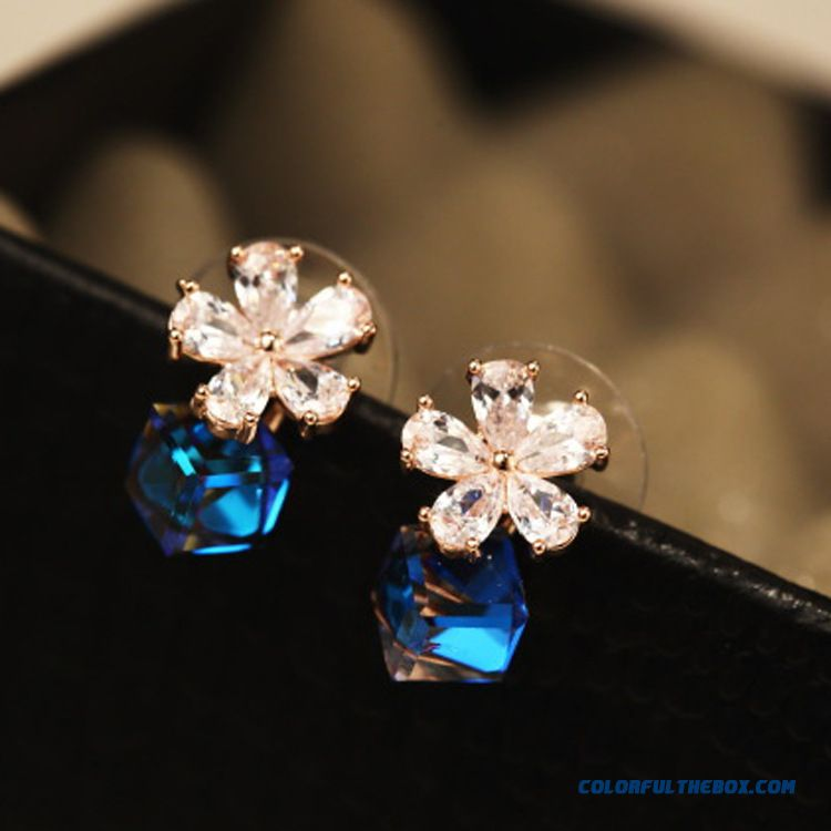 Women Qualities Fashion Zircon Rose Camellia 925 Silver Stud Earrings Ear Jewelry