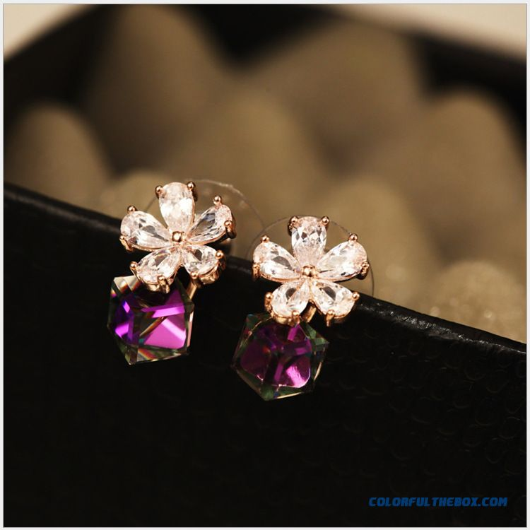 Cheap Women Qualities Fashion Zircon Rose Camellia 925 Silver Stud ...