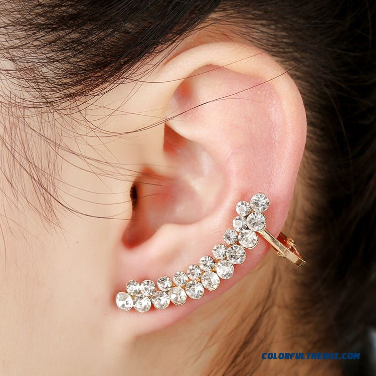 Women Qualities Women Double Crystal Ear Clip Rose Gold Screw Unilateral Earrings Wholesale Jewelry