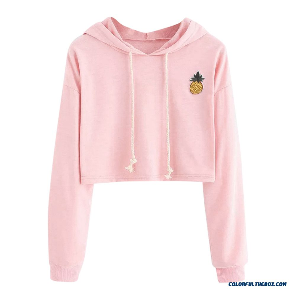 Women Sexy Short Sweatshirt Hoodies Long Sleeve Pullovers Tops Hoody Sweatshirt For Women Cute Pineapple Printed Clothing Befree