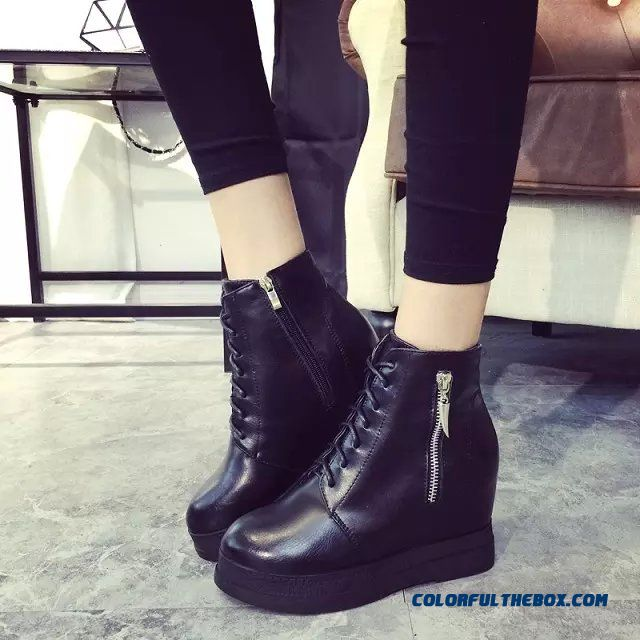 Women Shoes Elevator Shoes Inside Within Waterproof High-heeled Thick Bottom Boots