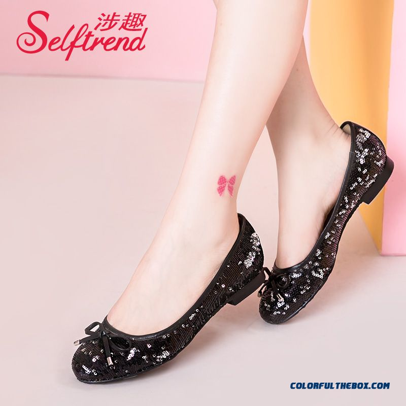 Women Shoes Sequined Bow-tie Decorative Shallow Mouth Round-toe Flats Flat Bottom