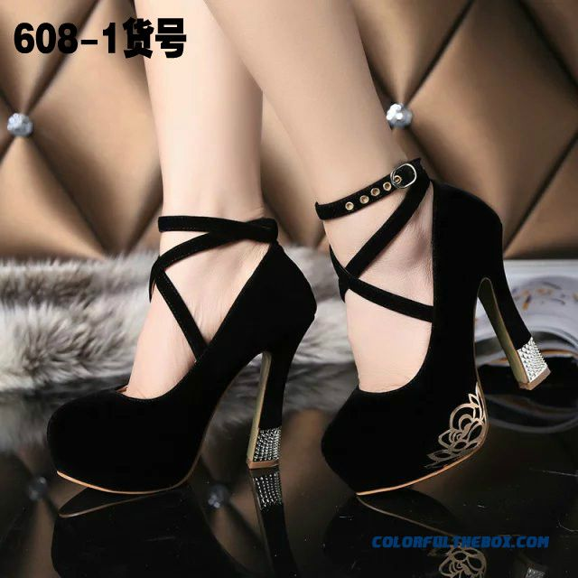 Women Shoes Shallow Mouth Round-toe Ankle Strap Large Size Rough Heel High-heeled Pumps