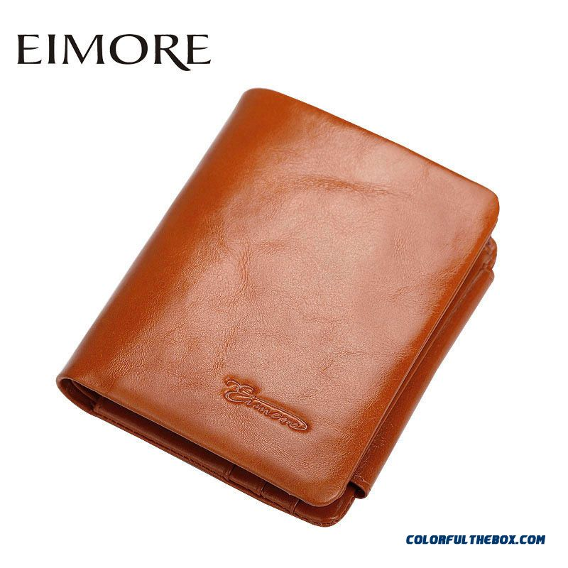 Women Short Small Genuine Leather Purse New Women's Three Fold Hasp Cowhide Wallets Thin Bags