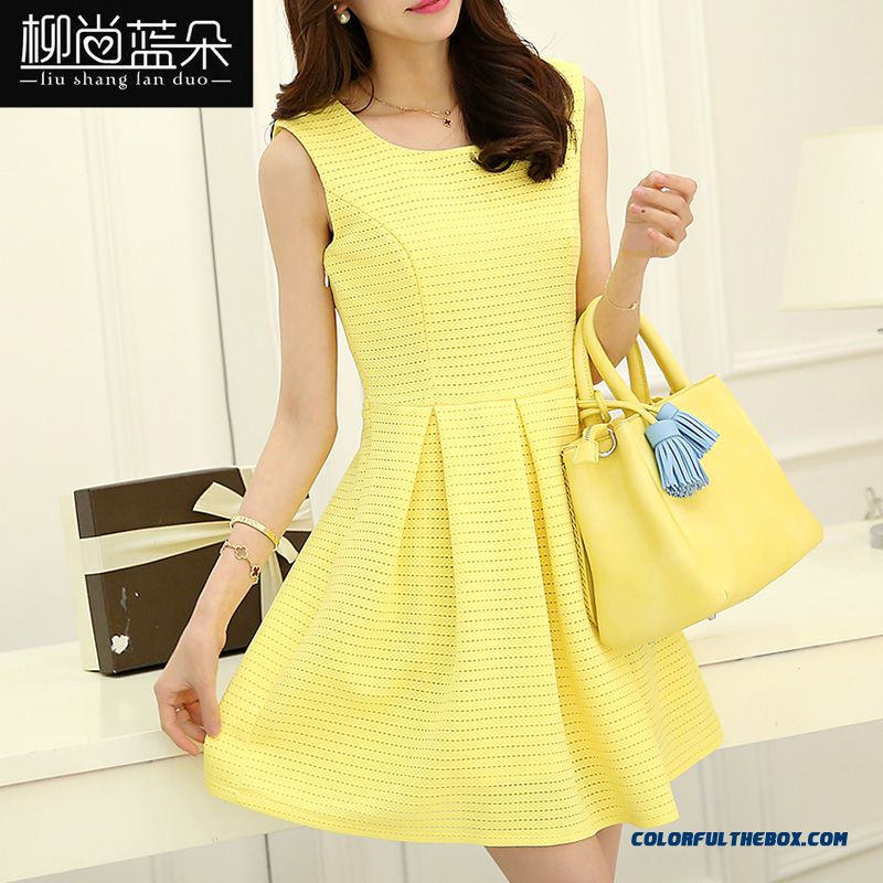 Women Sleeveless Dress New Summer Large Size Slim Openwork Yellow