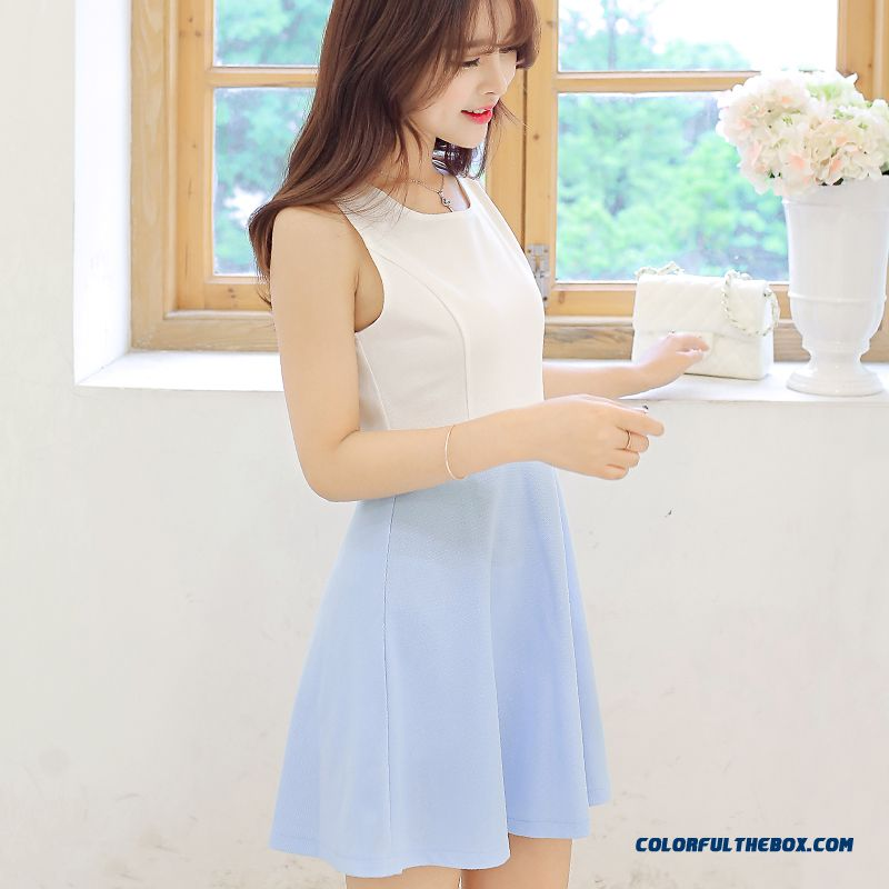 Women Sleeveless Dress New Summer Splicing Color Cheap Free Shipping