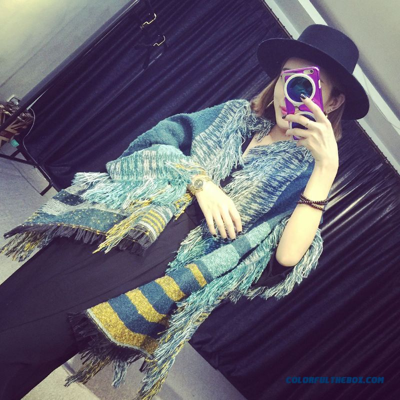 Women Striped Thick Warm Shawl Fringed Cashmere Scarves Long Dual-purpose Accessories