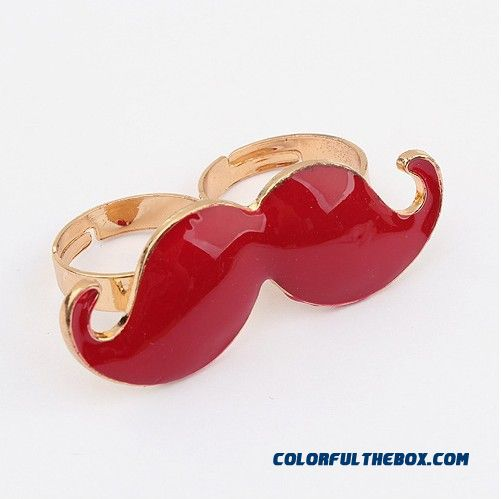 Women Stylish Selling Bicyclic Moustache Ring Opening Multicolor Jewelry