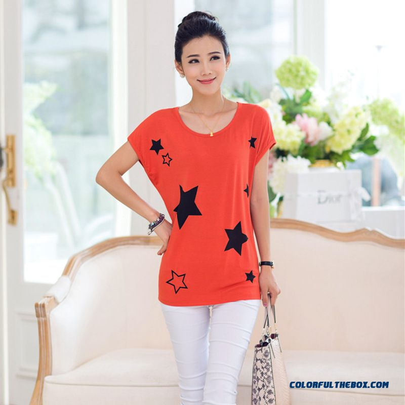 Women Summer New Loose Short-sleeve T-shirt Thin Five-pointed Star Printing