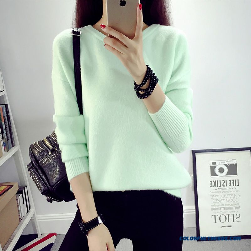 Women Sweater Autumn Knitwear Coat Pull Blouson Bottoming Shirt Round Neck Solid Green Pink Red