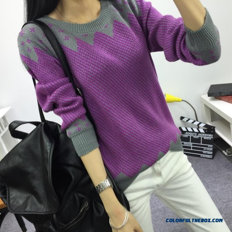 Women Sweater Autumn Winter Pull Blouson Bottoming Shirt Round Neck Loose Comfortable