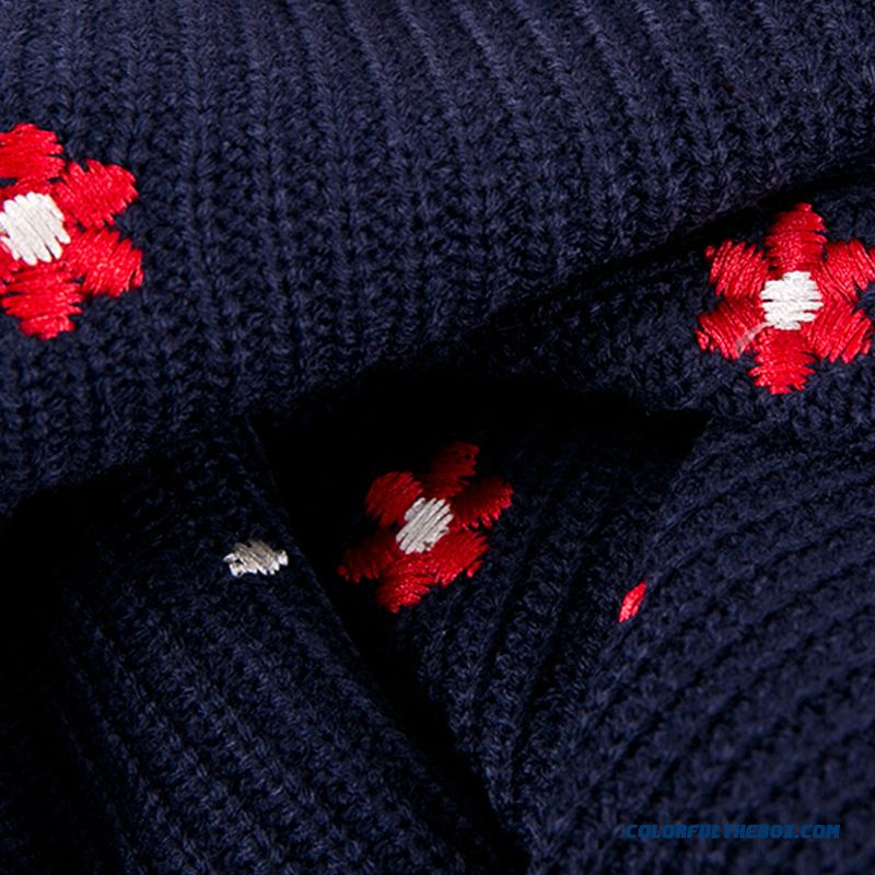 Women Sweater Bottoming Shirt Pull Blouson Round Neck Red Blue Flower Pattern - more images 1