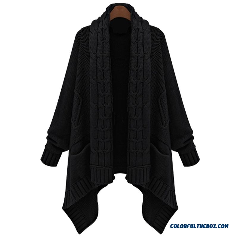 Women Sweater Cardigan Coat Long Sleeve Knitwear Loose Medium Long Khaki Black