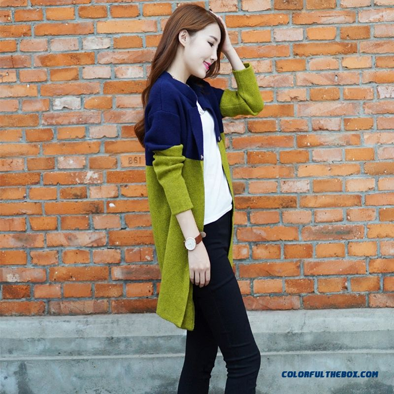 Women Sweater Cardigan Long Coat Long Sleeve Knitwear Blue Green