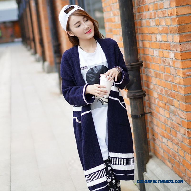 Women Sweater Cardigan Long Coat Long Sleeve Knitwear White Blue