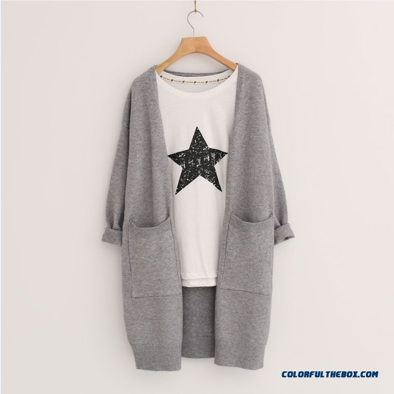 Women Sweater Cardigan Medium Long Thin Coats Spring Autumn
