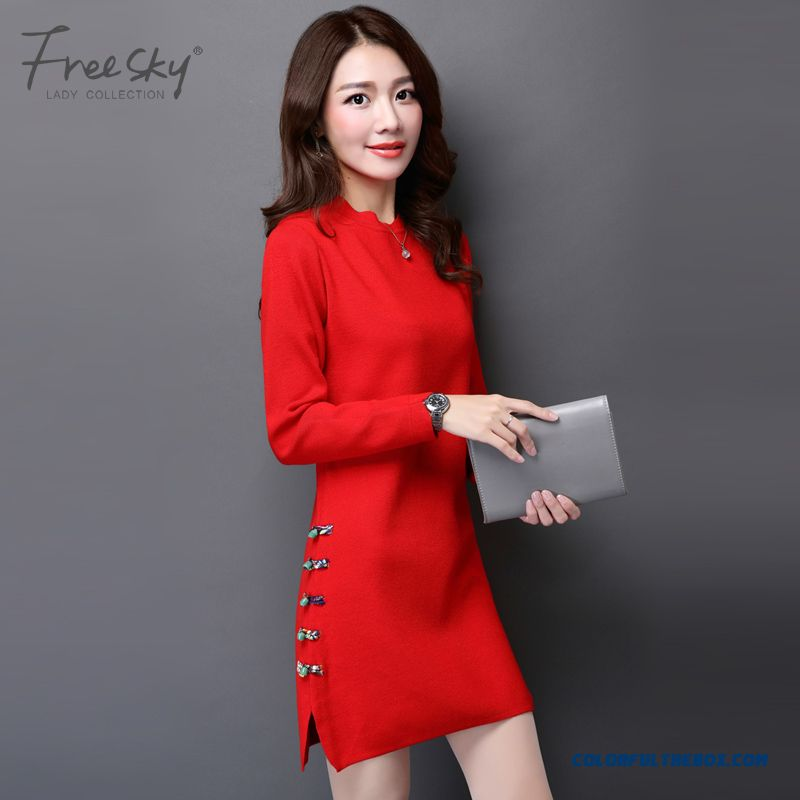 Women Sweater Dress Pull Blouson Bottoming Shirt Slim Red Black