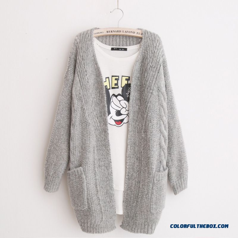 Cheap Women Sweater Female Cardigan Medium Long Coats Thick Grey ...