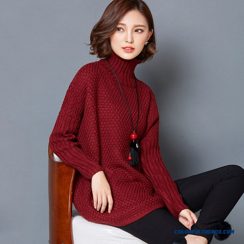 Women Sweater High Neck Bottoming Shirt Pull Blouson Bat Type Red Khaki