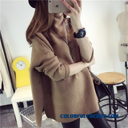 Women Sweater High Neck Loose Pull Blouson Thick Black Red Brown Coat
