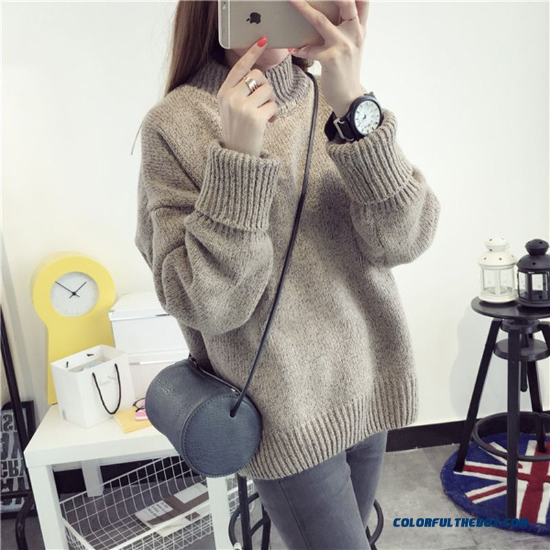 Women Sweater High Neck Thick Loose Pull Blouson Bottoming Shirt Dark Grey Khaki Red Blue