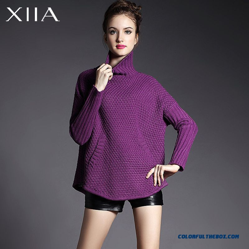 Women Sweater Knitwear Coat Bat-like Shirt High Neck Pull Blouson Loose Thick Purple Red - more images 1