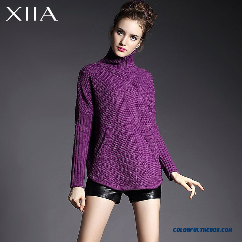 Women Sweater Knitwear Coat Bat-like Shirt High Neck Pull Blouson Loose Thick Purple Red - more images 2