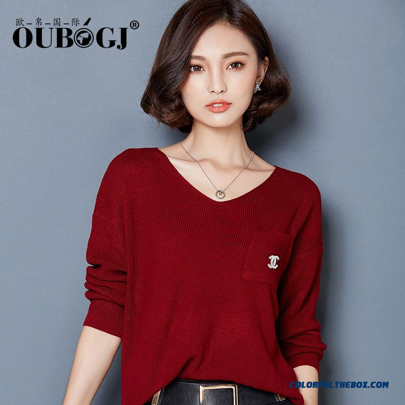 Women Sweater Knitwear Coat Loose Pull Blouson Bottoming Shirt V-neck Red