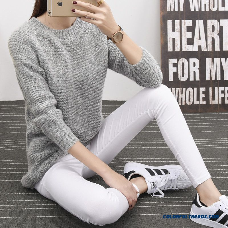 Women Sweater Knitwear Coat Pull Blouson Bottoming Shirt Blue Grey Green Round Neck