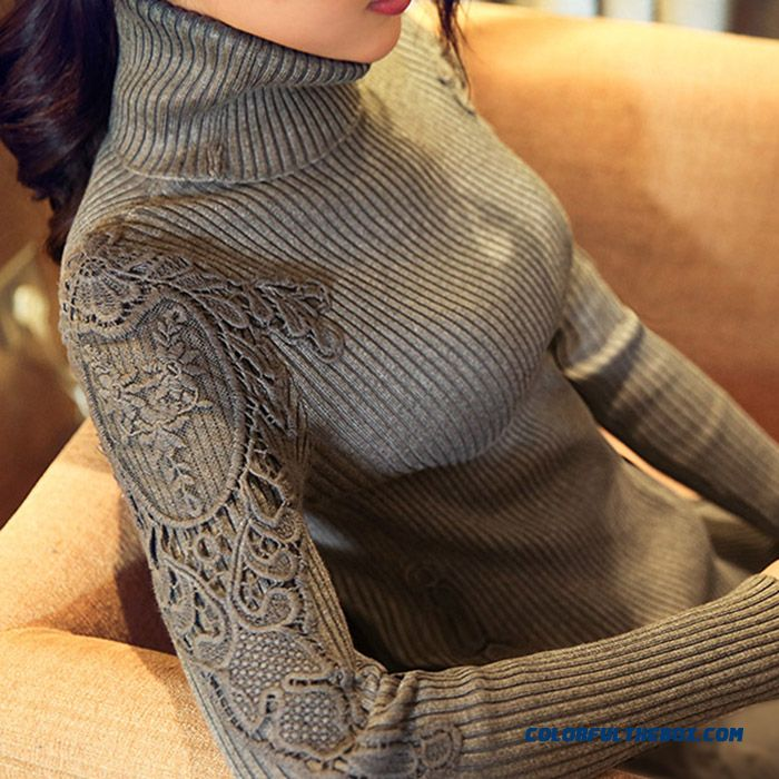 Women Sweater Lady Pull Blouson Bottoming Shirt High Neck Lace Slim Female Sweater