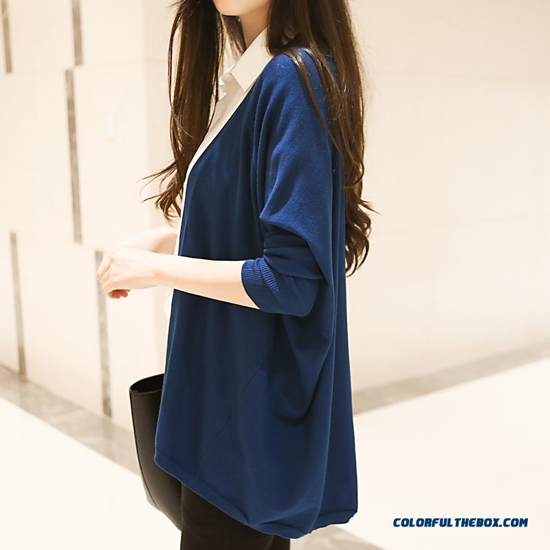 Women Sweater Loose Lady Cardigan Medium Long Coats Thin Red Blue Black - more images 1