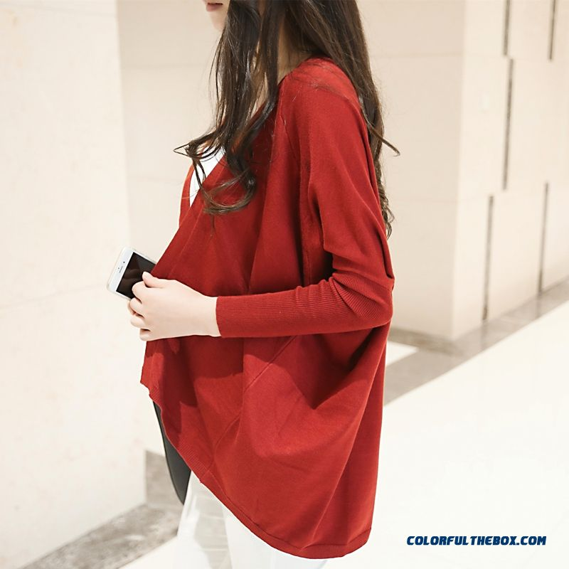 Women Sweater Loose Lady Cardigan Medium Long Coats Thin Red Blue Black - more images 2