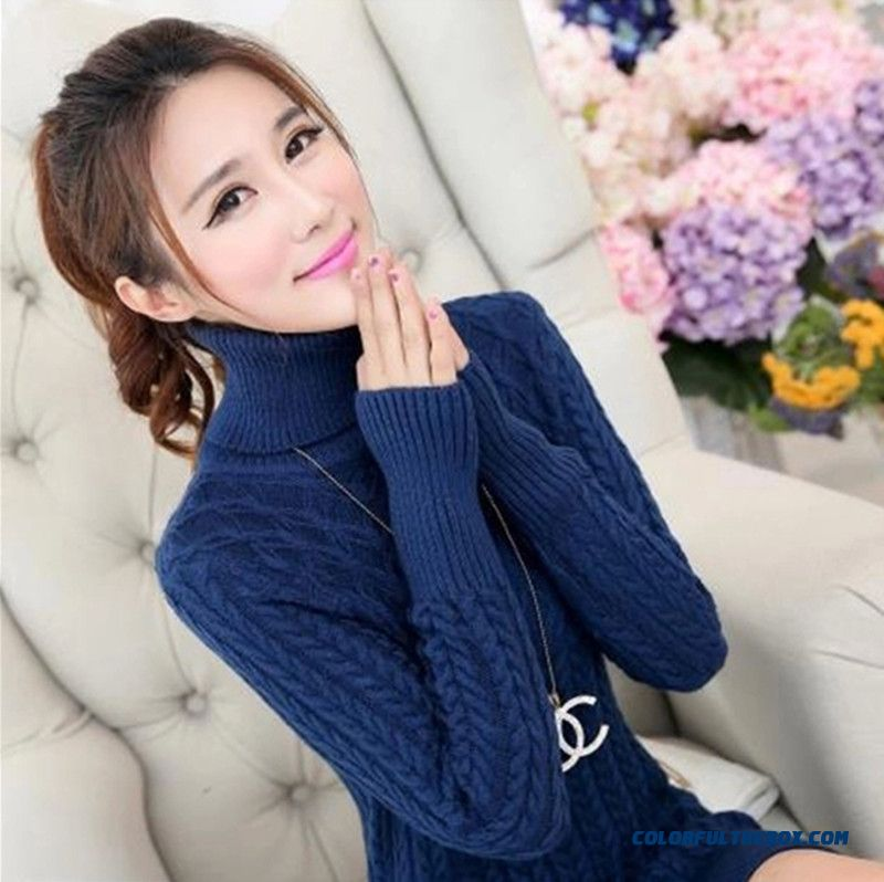 Women Sweater Pull Blouson Bottoming Shirt High Neck Thick Autumn Winter Blue Red Black