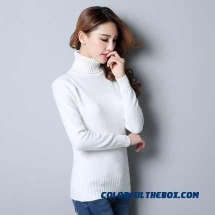 Women Sweater Pull Blouson Bottoming Shirt High Neck Warm Slim Autumn Winter White Purple