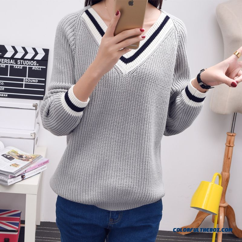 Women Sweater Pull Blouson Bottoming Shirt V-neck Women Clothing Free Size