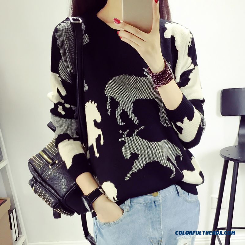 Women Sweater Pull Blouson Slim Warm Coats Loose Round Neck Bottoming Shirt