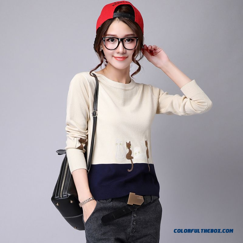 Women Sweater Round Neck Loose Pull Blouson Bottoming Shirt White Black Autumn