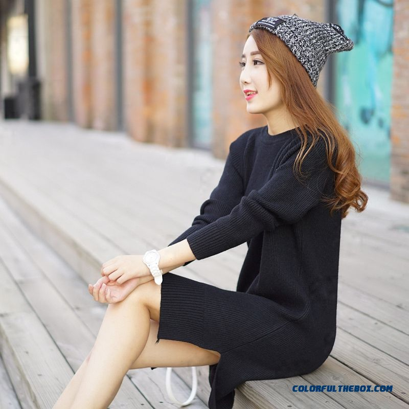 Women Sweater Round Neck Pull Blouson Bottoming Shirt Lady Sweater Coat Dress Red Grey Black - more images 1