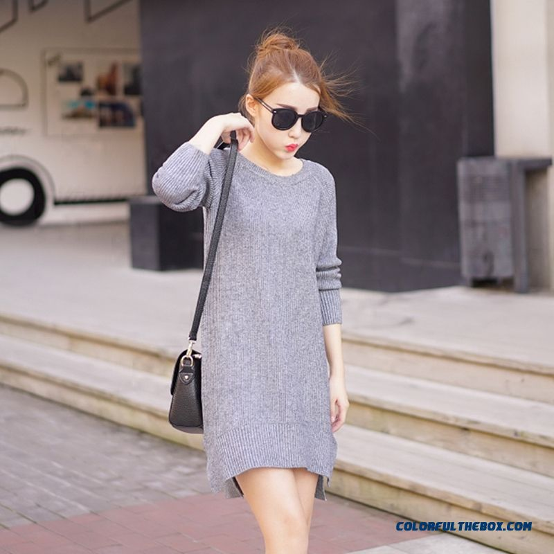 Women Sweater Round Neck Pull Blouson Bottoming Shirt Lady Sweater Coat Dress Red Grey Black - more images 2