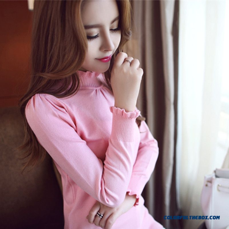 Women Sweater Slim Pull Blouson Bottoming Shirt Color Black Red Pink White Grey Purple