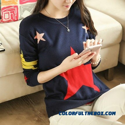 Women Sweater Warm Pull Blouson Bottoming Shirt Round Neck Star