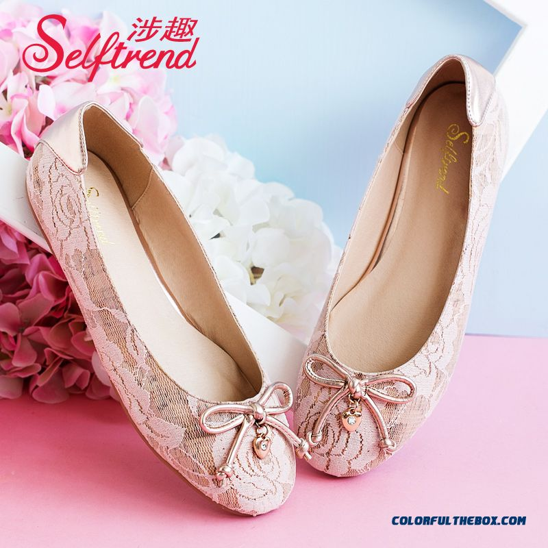 Women Sweet Lace Bow-tie Decorative Pendant Shallow Mouth Round-toe Flat Shoes