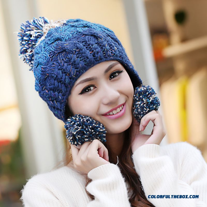 Women Sweet Winter Wool Cap Handmade Knitted Hat Ear Protection Function Accessories