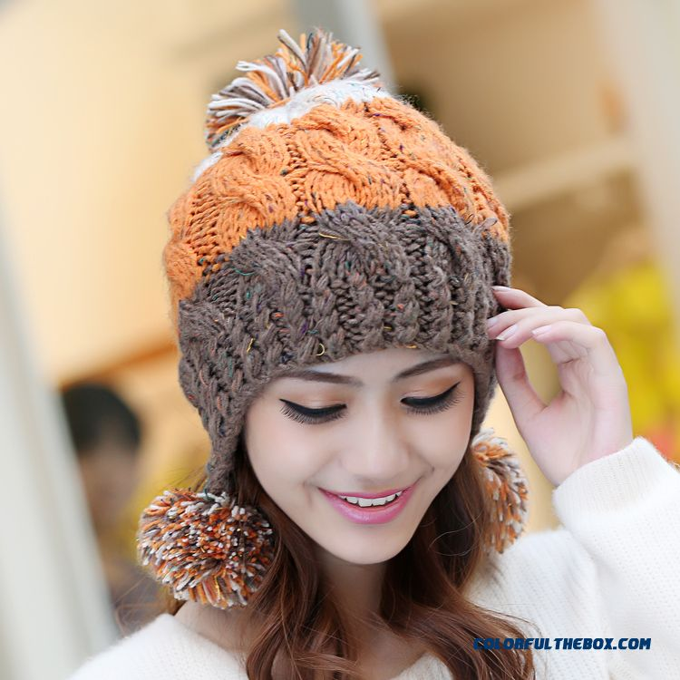 Cheap Women Sweet Winter Wool Cap Handmade Knitted Hat Ear