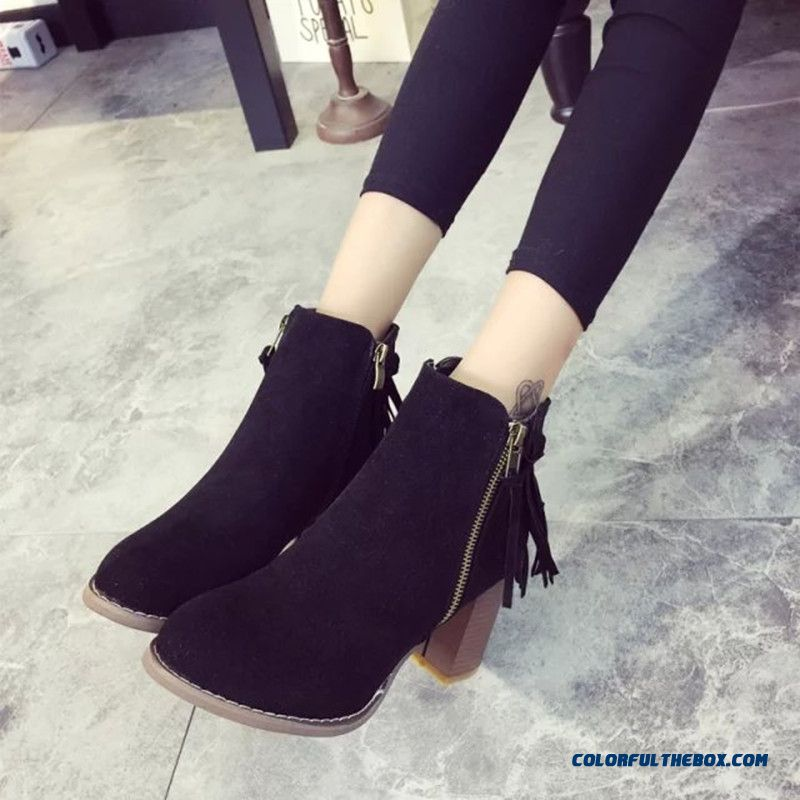 Women Thick Heel Martin Boots Black Fringed Side Zipper Round Ankle Boots