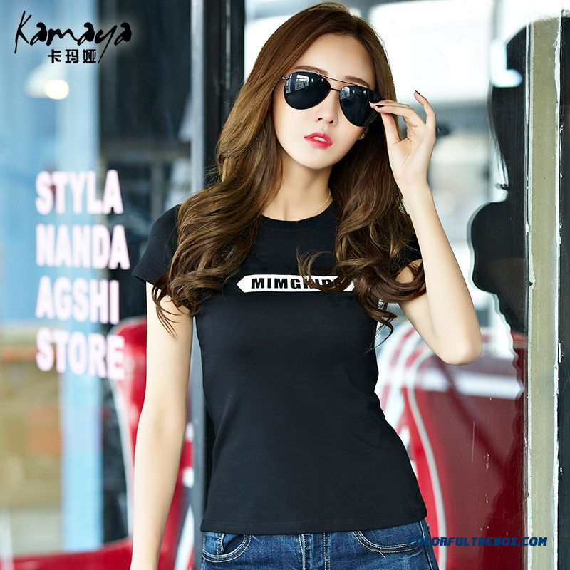 Women Thin Large Size Letters Printed Short-sleeved T-shirt Plus Thick Velvet Shirt