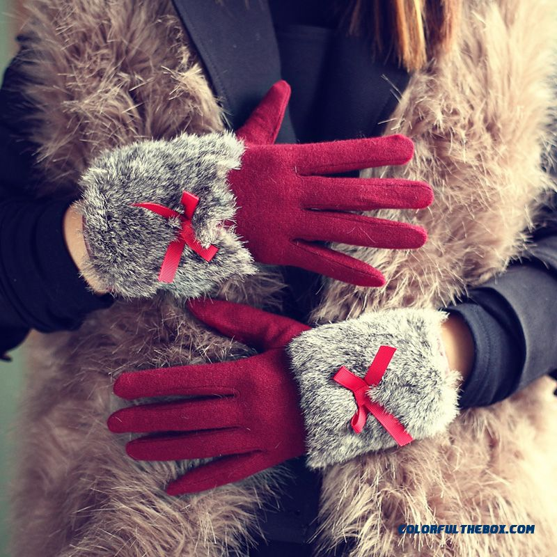 Women Touch Screen Gloves Thickness Rabbit Fur Fashionable Mittens Five Fingers Gloves - more images 1