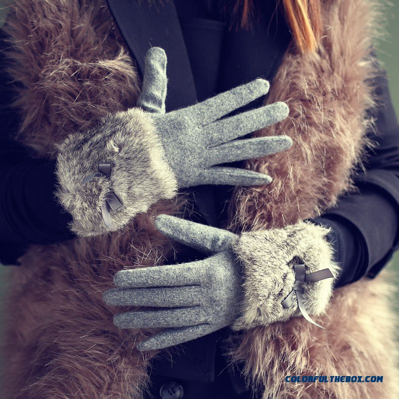 Women Touch Screen Gloves Thickness Rabbit Fur Fashionable Mittens Five Fingers Gloves - more images 3