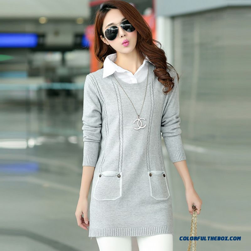 Women Types Of Clothing False Two Sweater Pull Blouson Bottoming Shirt Slim Lapel