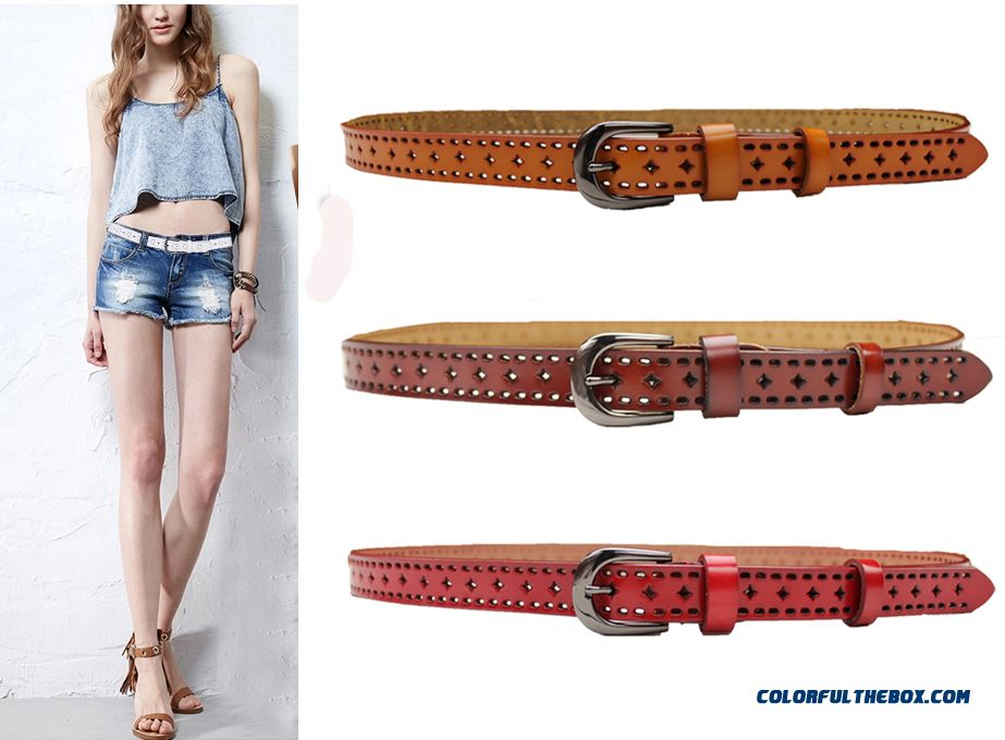 Women Ultra-fine Texture Openwork Decorated Dress Leather Belts Pin Buckle Genuine Leather Cummerbunds On Sale
